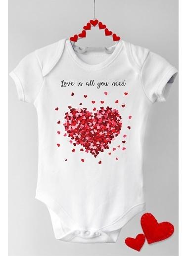 Happy Onesie Co Aşk Uzun Kol Çıtçıtlı Bebek Body Beyaz